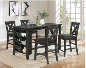 Photo GREY COUNTER HEIGHT DINING TABLE WITH CHAIRS