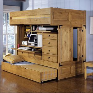 Photo Brown Twin Size Loft Bed With Trundle