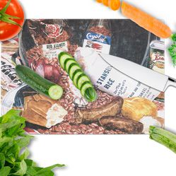 Caroline's Treasures 8536LCB Red Beans and Rice Glass Cutting Board Large, 12H x 16W, multicolor Thumbnail