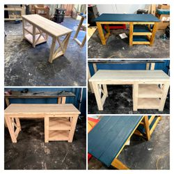 Solid Wood Desk with Shelves Thumbnail