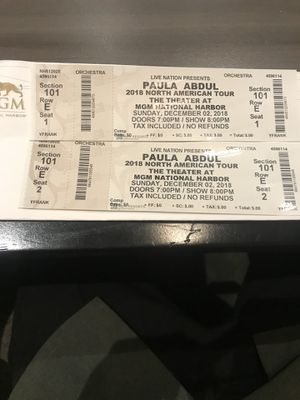 Mgm Paula Abdul tickets for Sale in Fort Washington, MD