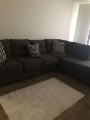 Grey Furniture with pillows. White rug and grey curtains to match. for Sale in Landover, MD