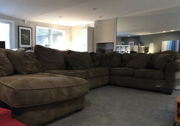 Astonishing Brown Microfiber Sectional Couch Great Condition No Caraccident5 Cool Chair Designs And Ideas Caraccident5Info