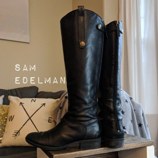 6e4face37fc600 Sam Edelman Penny riding boots in black leather