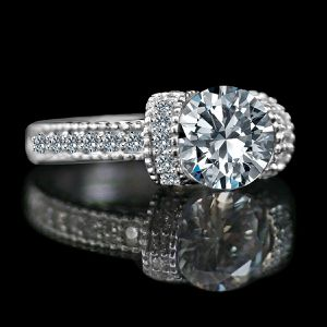 1.25 CT Round Classic Vintage Style Miligree Simulated Diamond Engagement Ring, Simulated Diamond Wedding Sterling Silver Ring 635R12826 for Sale in Jersey City, NJ