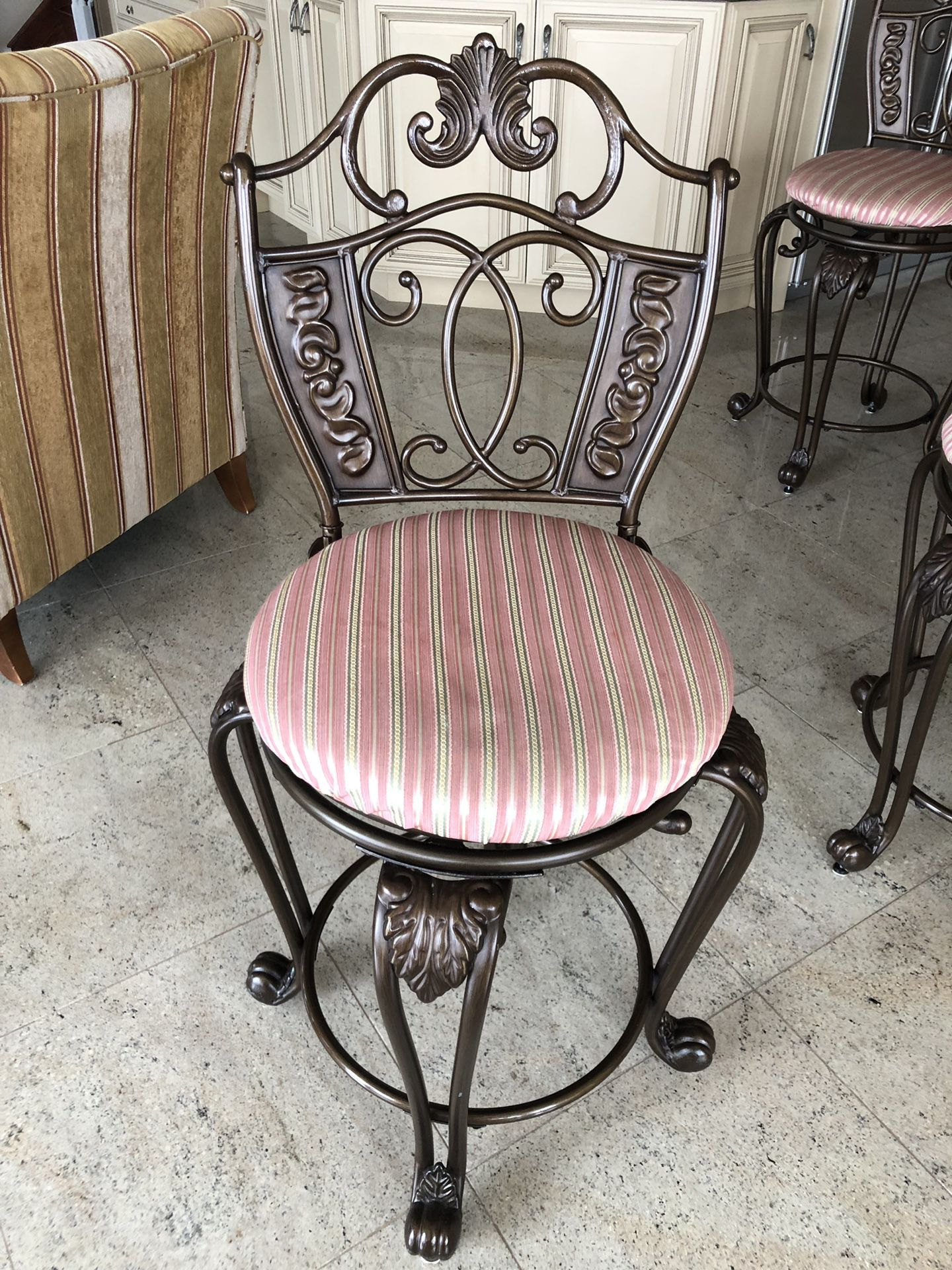 Set of 3 rod iron bar stools