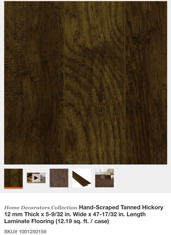 Home decorators collection hand scraped tanned hickory 12 mm thick x 5 9 32 in wide x 47 17 32 in length laminate flooring general in glendale