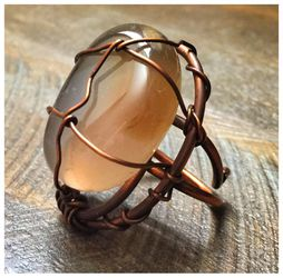 Beautiful One of a Kind copper ring with Eye of Tiger stone Thumbnail