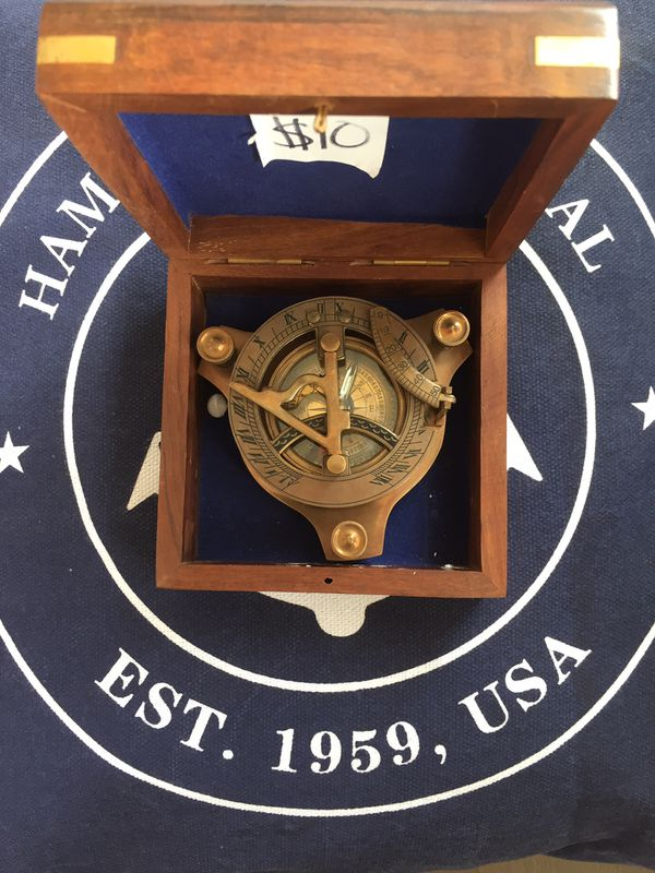 Captain S Antique Brass Triangle Sundial Compass 3 For