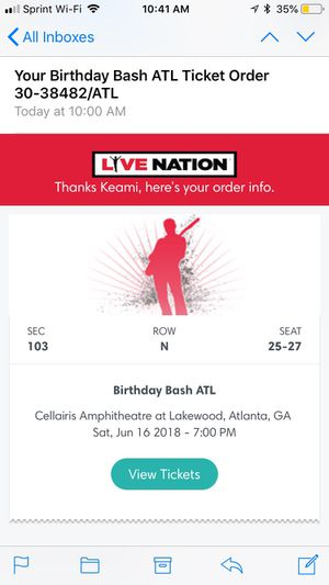 3 #BirthdaybashAtl2018 tickets FUTURE,YOUNG THUG, LIL BABY and more!! for Sale in Atlanta, GA