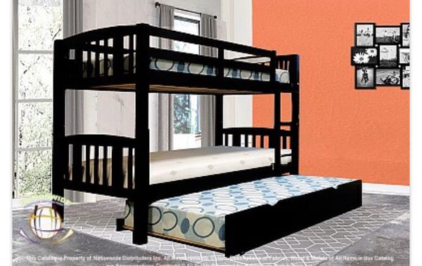 Black bunk bed with trundle bed!!Brand new free delivery for Sale in