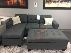 Brand new gray linen sectional sofa with ottoman for Sale in Silver Spring, MD