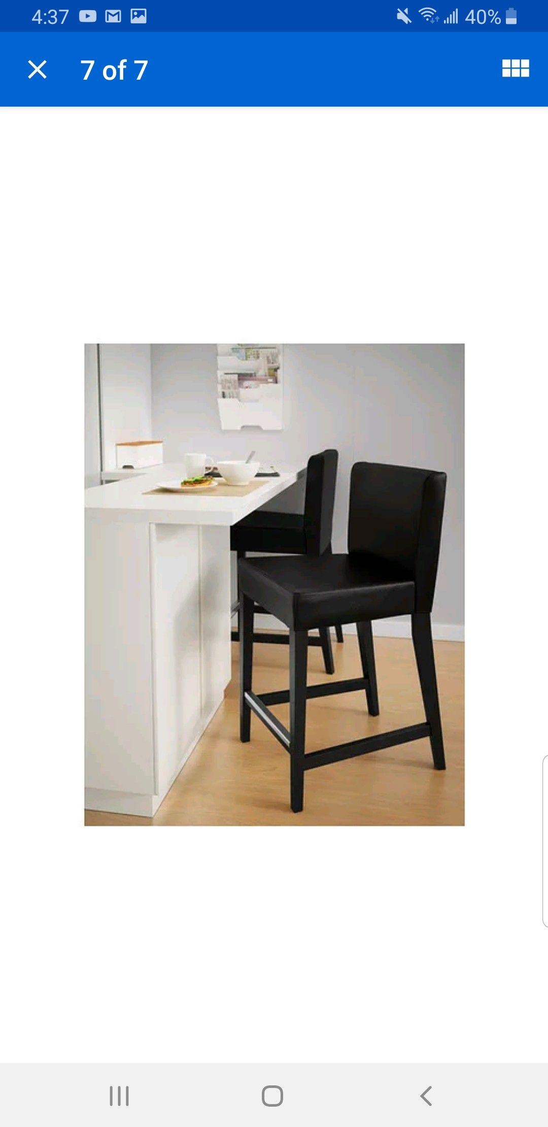 2 bar stool Ikea Henriksdal Bar Stool with backrest / Brown Black Frame / Black Leather
