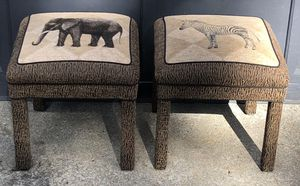 2 Leopard and zebra print Ottomans footstools for Sale in Wareham, MA
