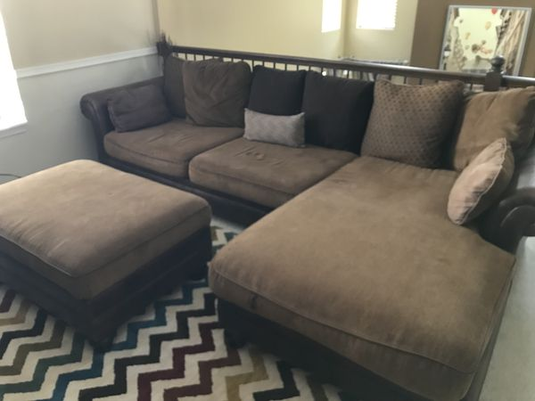 Brown leather fabric sectional sofa (Furniture) in Aurora, IL - OfferUp