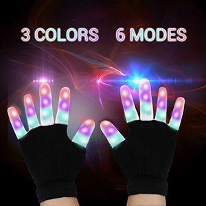 LED Gloves Finger Lights 3 Colors 6 Modes Flashing Rave Gloves Party Light Up Toys Christmas Gift for Sale in Leesburg, VA