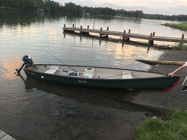Old Town Canoe with 3 5 gas powered outboard for Sale in Greenville, SC -  OfferUp