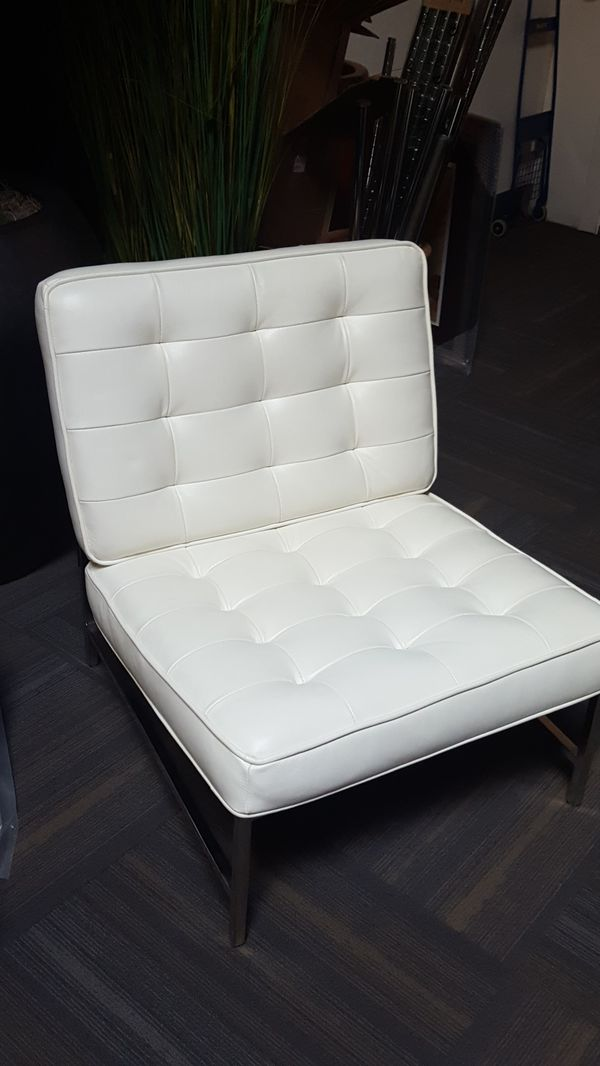2 designer white leather chairs from dania for sale in seattle wa