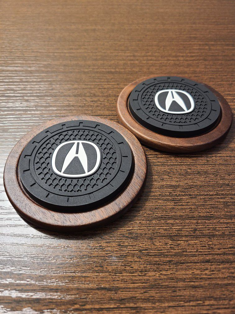 Premium Wood Drink Coasters set of 2 for Acura
