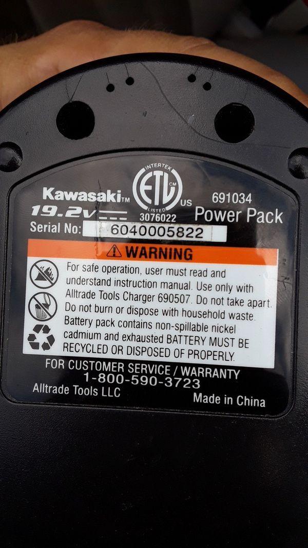 Kawasaki 19.2V Battery/Charger (Tools & Machinery) in Plant City, FL