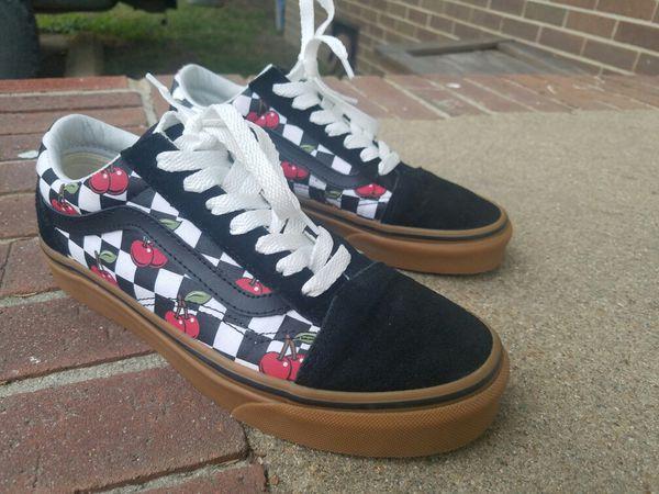 b9e1772b3773 Vans Old Skool Shoes Black   Gum Checkered Cherries Women s 7.5 Men s 6  Like New