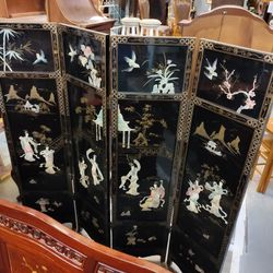 Vintage Asian Black Lacquer, Mother Of Pearl, And Jade Screen/Room Divider. Thumbnail