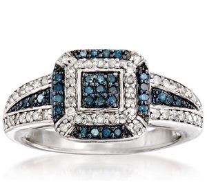 Photo New 0.49 ct. t.w. Pave Blue and White Diamond Ring in Sterling Silver Size 6-9 Available