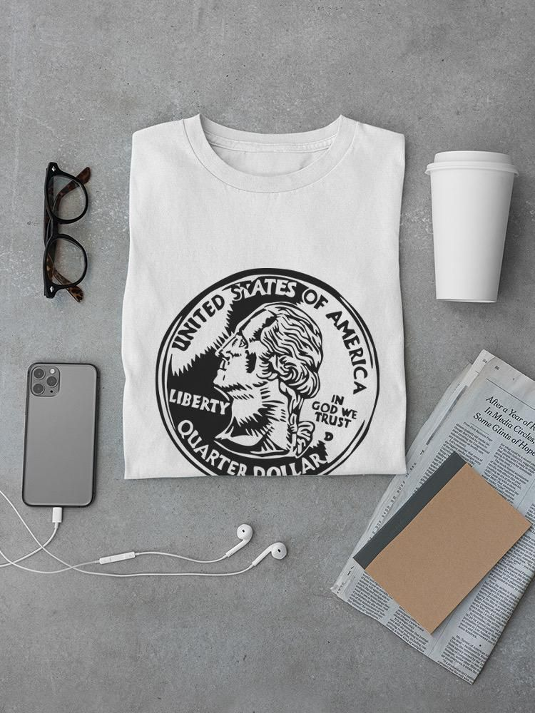 Smartprints Quarter Dollar Coin Sketch Tee Men's -Image by Shutterstock White Size 4XL
