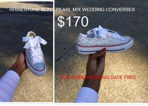 Rhinestone pearl Bride wedding converses for Sale in Columbus, OH