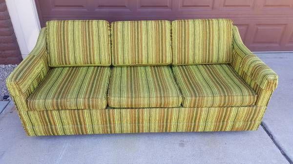 Tremendous Vintage Retro Sofa Sleeper Couch Lime Green Brown For Sale Creativecarmelina Interior Chair Design Creativecarmelinacom