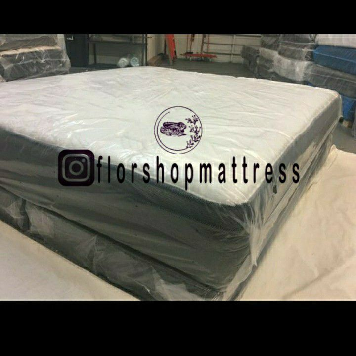 FULL MATTRESSES PILLOW TOP COMFORT WITH BOX SPRING 🐇🎯 ALL SIZES AVAILABLE KING QUEEN FULL TWIN 🐇🎯 BED FRAME NOT INCLUDED COLCHONES NUEVOS CAMAS