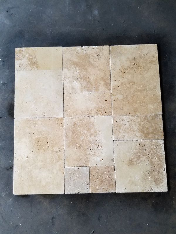 French Pattern Noche Travertine Tumbled Tile For Sale In
