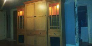 Photo 3 piece wooden entertainment center-see description