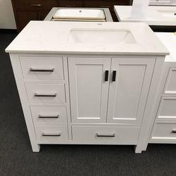 "36"" White Bathroom Vanity With Cortina Stone Top  Thumbnail"