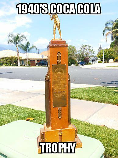 1949 Coca Cola Los Angeles Softball Trophy For Sale In Rancho