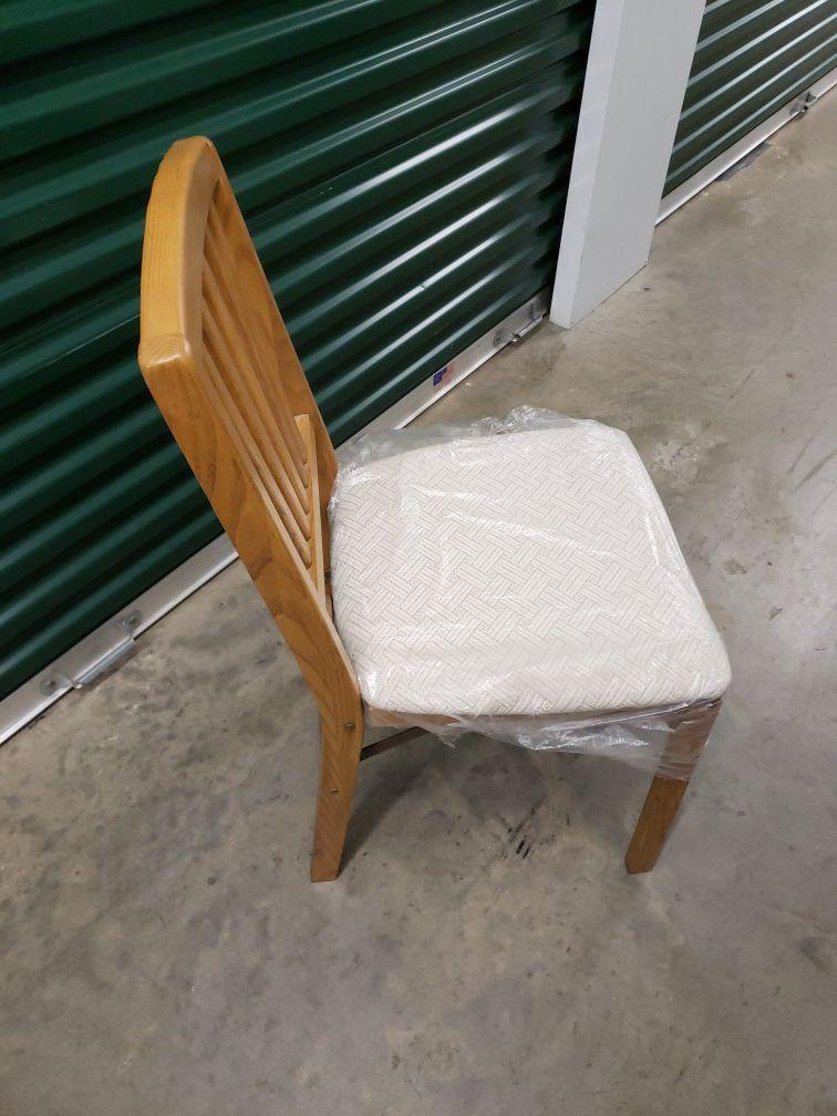 Wood folding chair with cushion seat beige oak