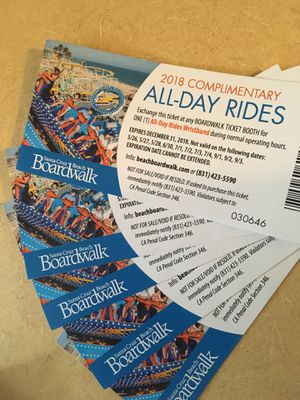 I have 5 all day rides for Santa Cruz beach boardwalk Asking $35 each or get a better deal for all 5 for Sale in San Francisco, CA