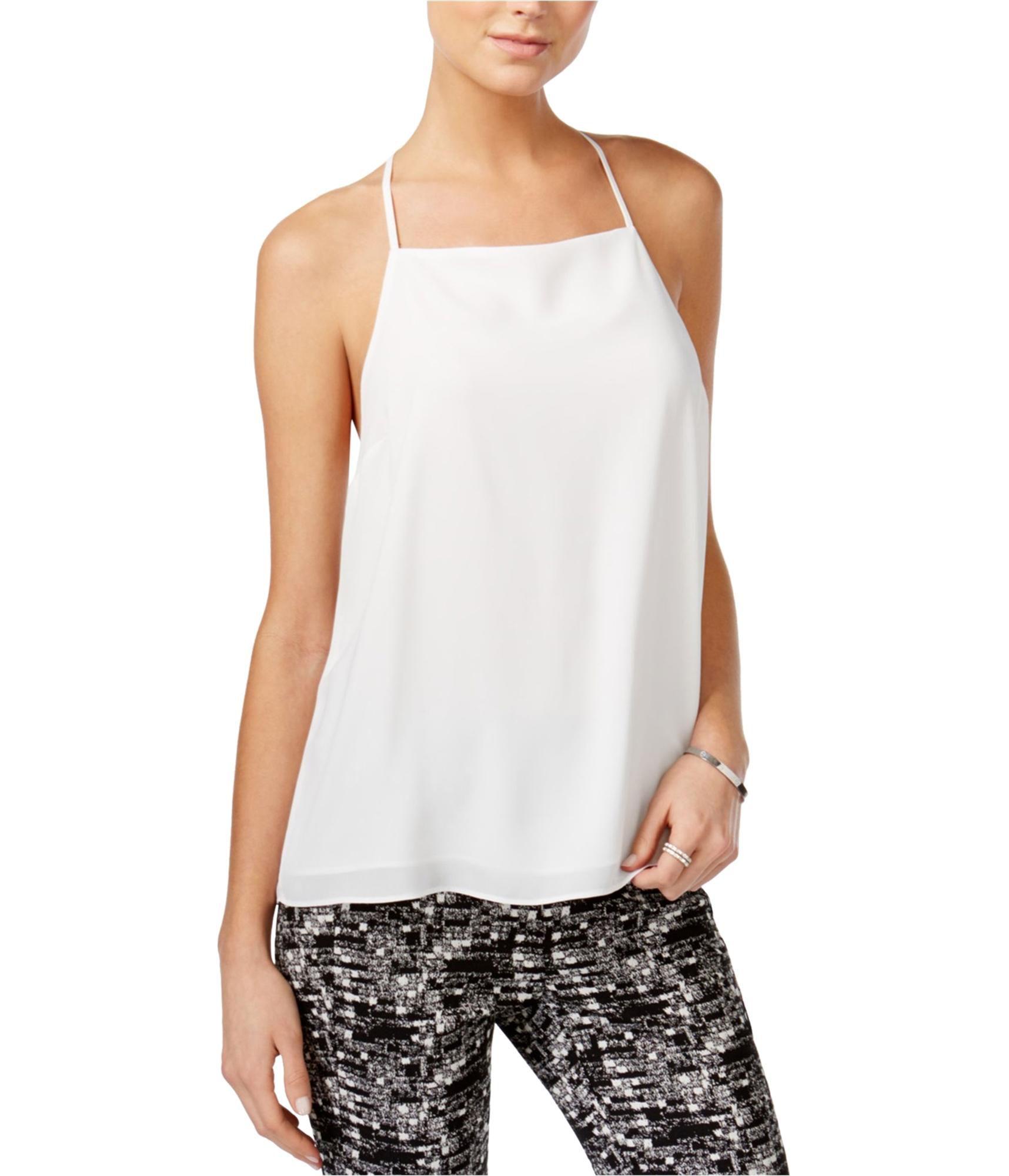 bar III Womens Lace Trim Cami Tank Top, White, XX-Large