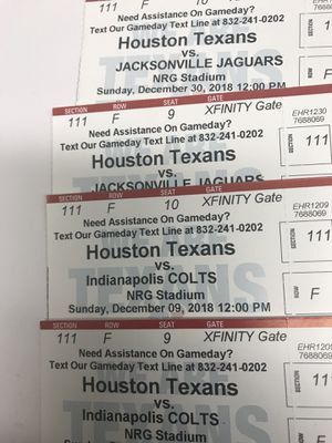 Texans vs Colts (6 rows from field) for Sale in Houston, TX