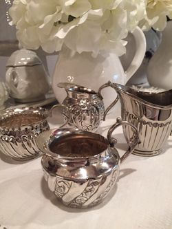 Vintage Silverplate 3 Fancy Designed Creamers Pitchers and 1 Sugar Bowl Thumbnail