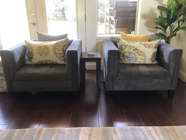 2 Gently Used Z Gallerie Grey Chairs
