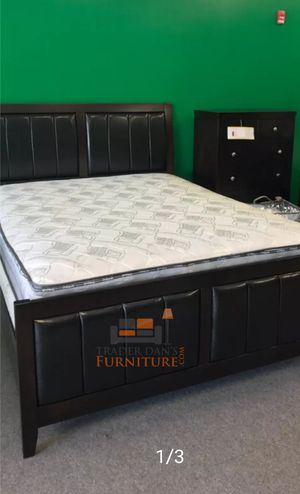 Brand New Queen Size Wood/Leather Bed Frame + Chest ( No Mattress) for Sale in Silver Spring, MD