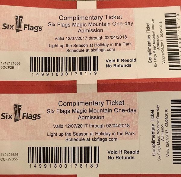 2 Six Flags tickets !! for Sale in Santa Paula, CA - OfferUp