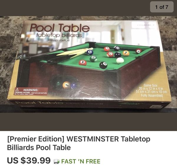 Pleasant Premier Edition Westminster Tabletop Billiards Pool Table For Sale In Yonkers Ny Offerup Download Free Architecture Designs Scobabritishbridgeorg