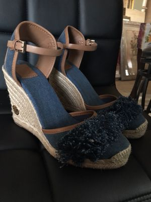 1ac599321 Brand New Tory Burch Shaw Shaw Fringe Espadrille Denim Blue Royal Tan  Women s Wedges for Sale in Bell Gardens