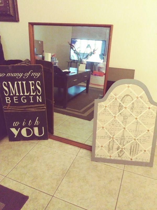 Wall decor! Picture holder/ frame, a Large Mirror hardwood frame ...