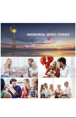 Solar Wind Chimes for Outside, Memorial Wind Chimes with Moon Crackle Glass Ball Warm LED Light, Sympathy Wind Chimes with Metal Tubes Waterproof Uniq Thumbnail