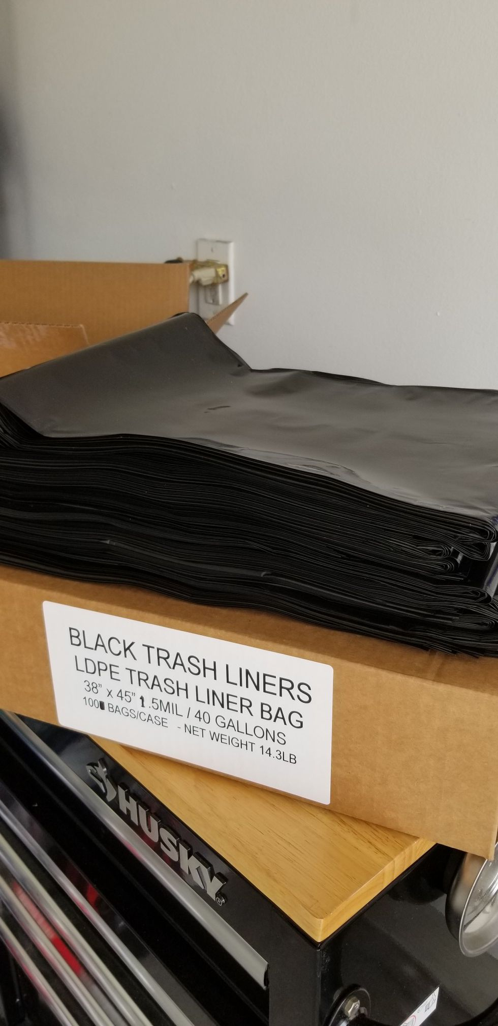 Black trash bags can liners 40/45 gallons 1.5mm