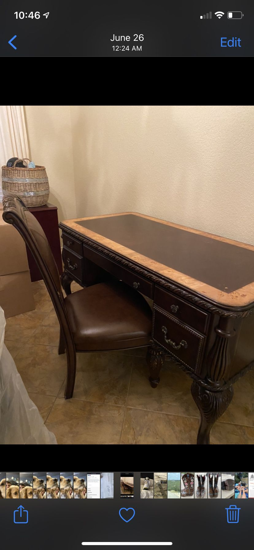 Wood Desk With Wood And Leather Chair