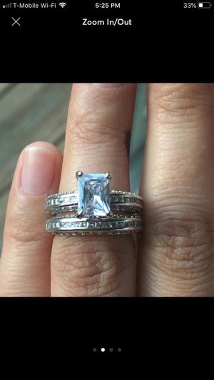 Sterling silver plated emerald princess cut sapphire wedding engagement ring proposal ring women's jewelry for Sale in Silver Spring, MD